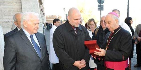 Tim with Archbishop Bishop Fisichella and Dennis Salvoie in Rome 2006